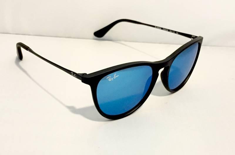 lunettes de soleil ray ban noire mat verres miroirs bleus pour enfant au paradis des lunettes. Black Bedroom Furniture Sets. Home Design Ideas