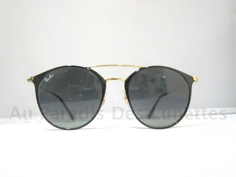lunettes de soleil ray ban rondes coloris noir et dor double pont dor au paradis des lunettes. Black Bedroom Furniture Sets. Home Design Ideas