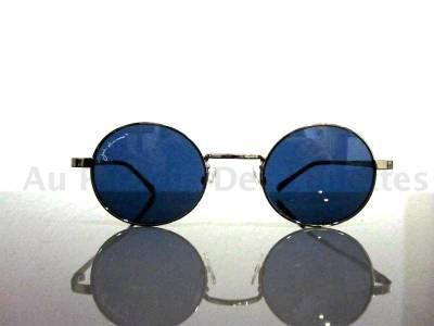 lunettes de soleil rondes John Lennon argent fonc�