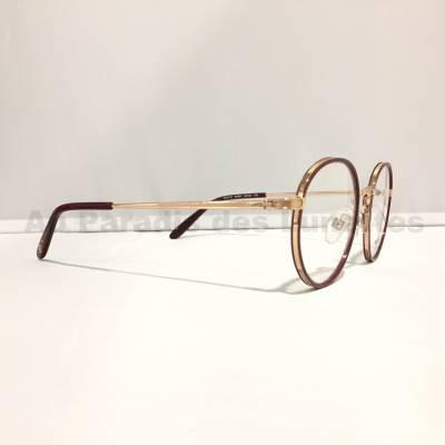 Détail lunettes de vue rondes paul and joe en or rose